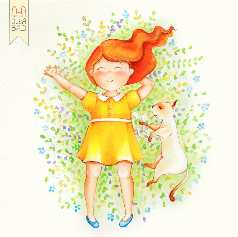 Картинки, рыжая девочка открытки