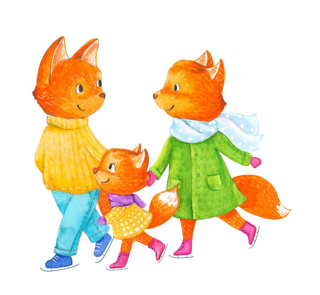 Foxes skating
