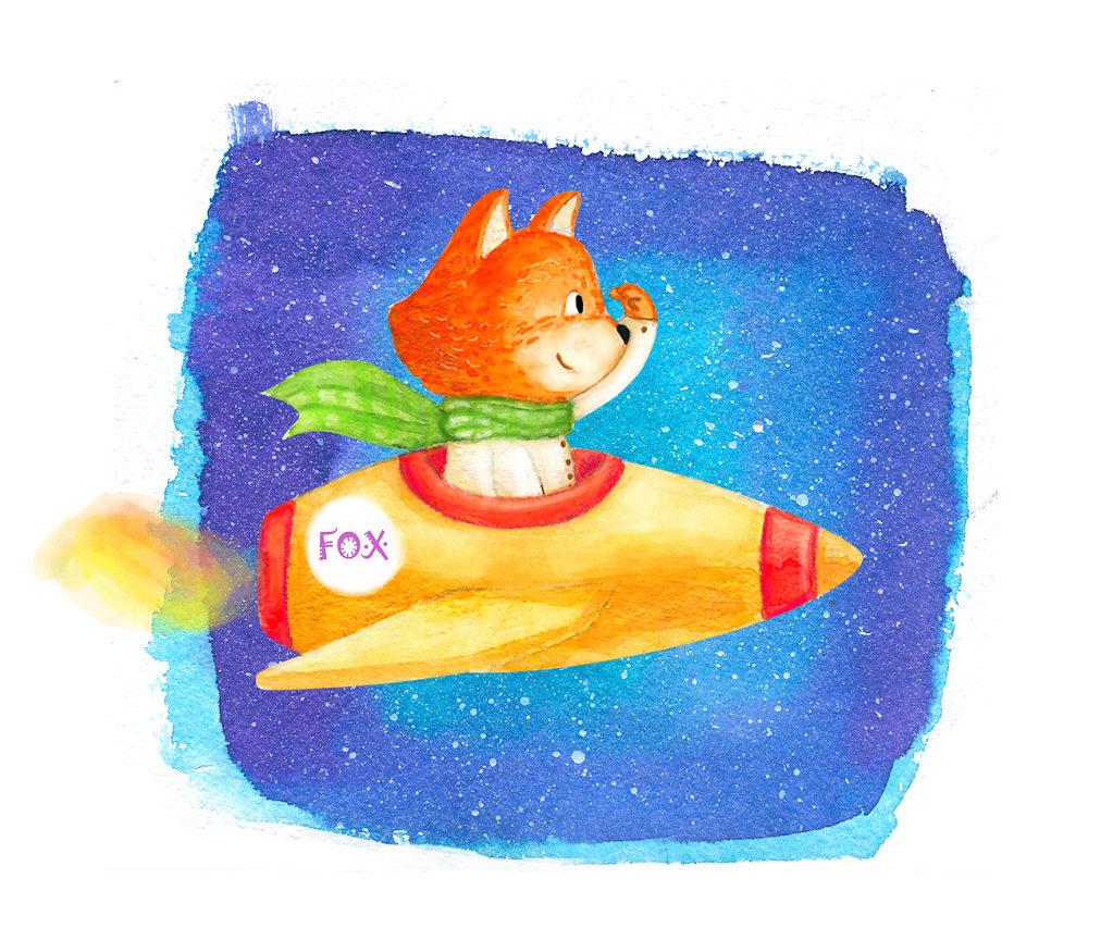 Fox on a rocket