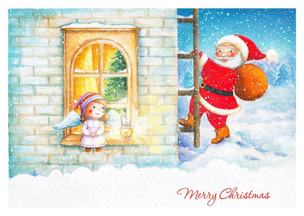 New Year postcard 1 - Olya Badulina - Children's illustrator
