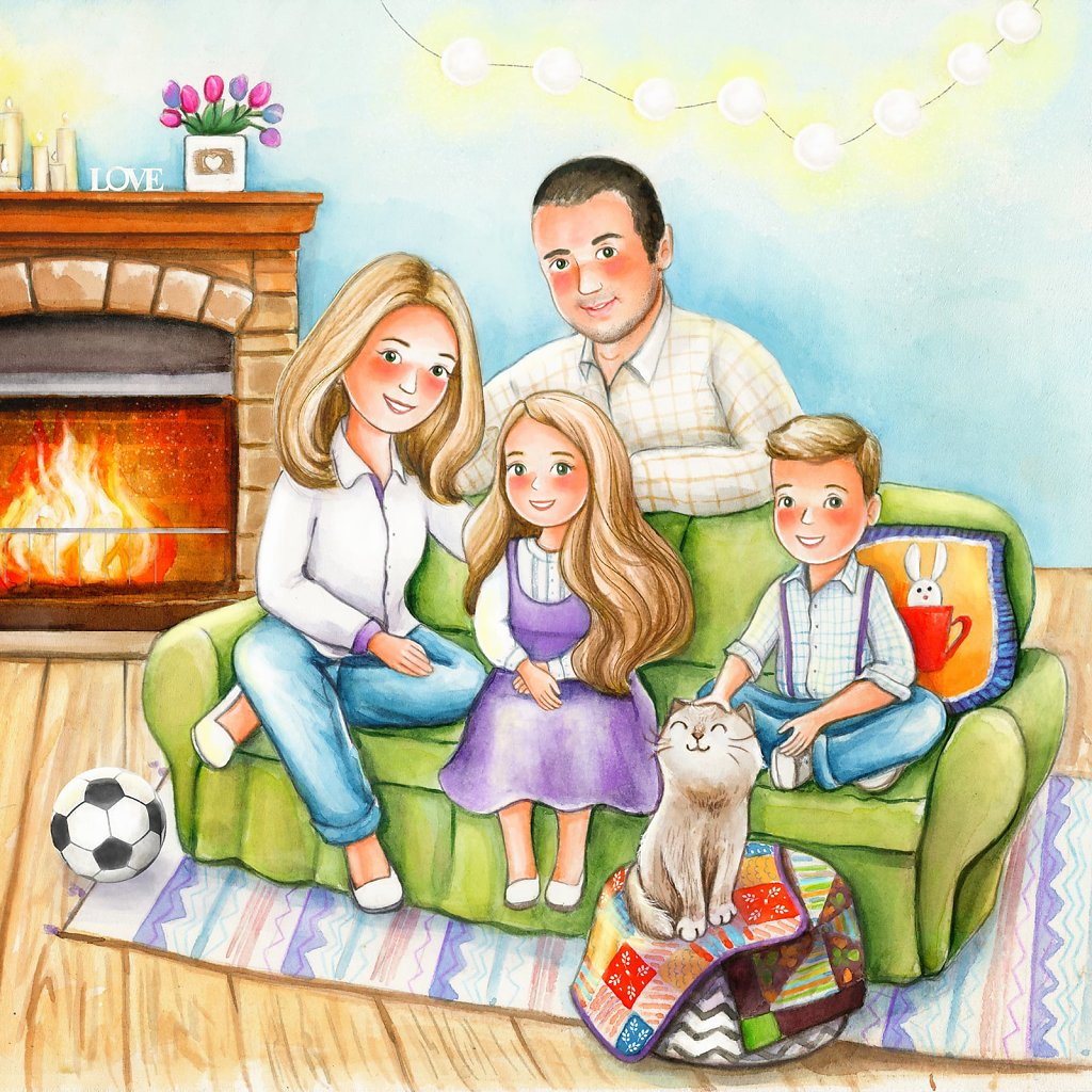 The family near a fireplace