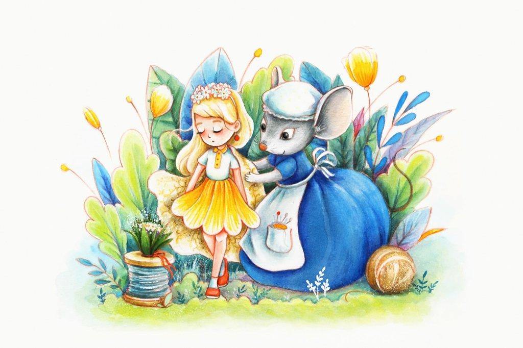 Thumbelina (Tommelise) with Mouse